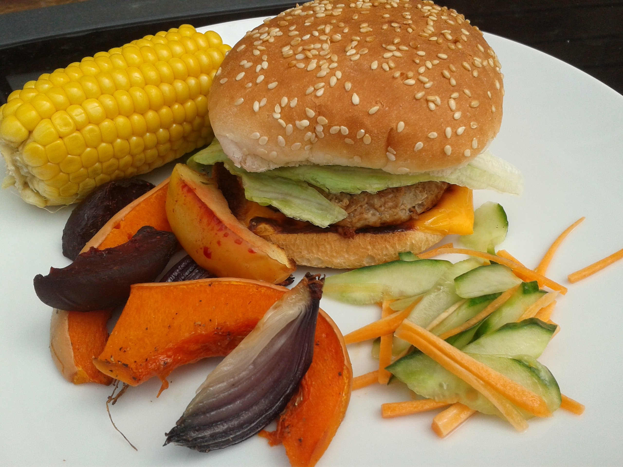 burger, root vegetables