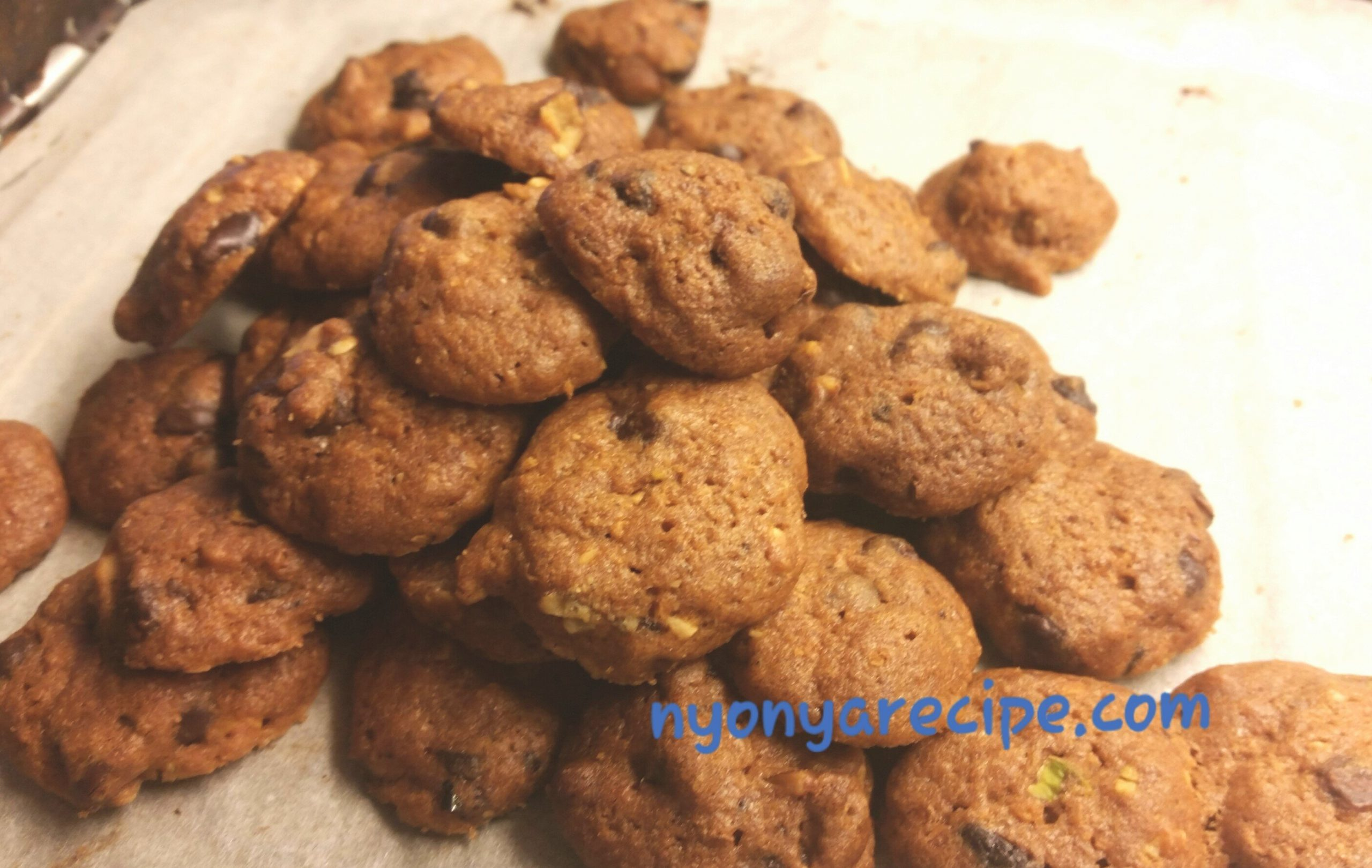 Chocolate chip and nuts cookies fresh from the oven.