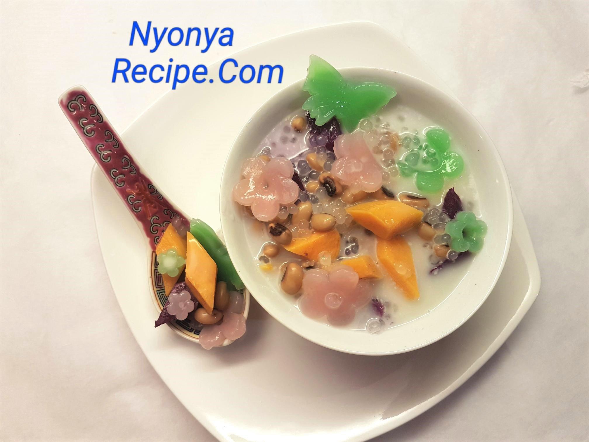 Black=eyed peas, pink flowers, bubur cha cha, Chinese New Year, Penang, Nyonya,