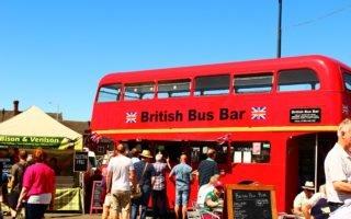 Artisan Cheese Fair, Melton Mowbray, summer, bus bar,