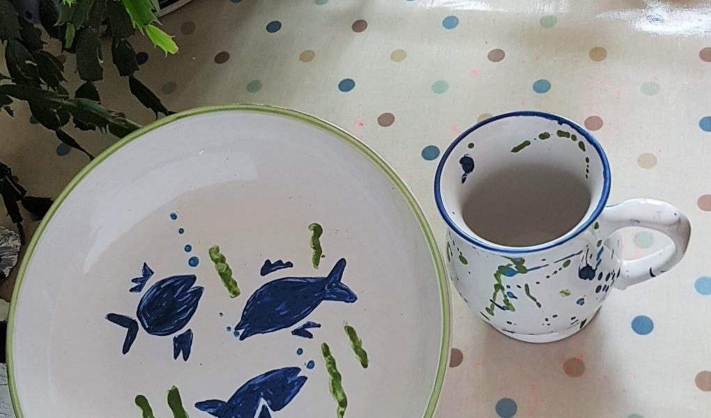 Hand painted pasta bow and matching mug in blue and green. Denby pottery