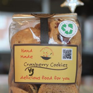 Cranberry Cookies in a bio-degradable packining