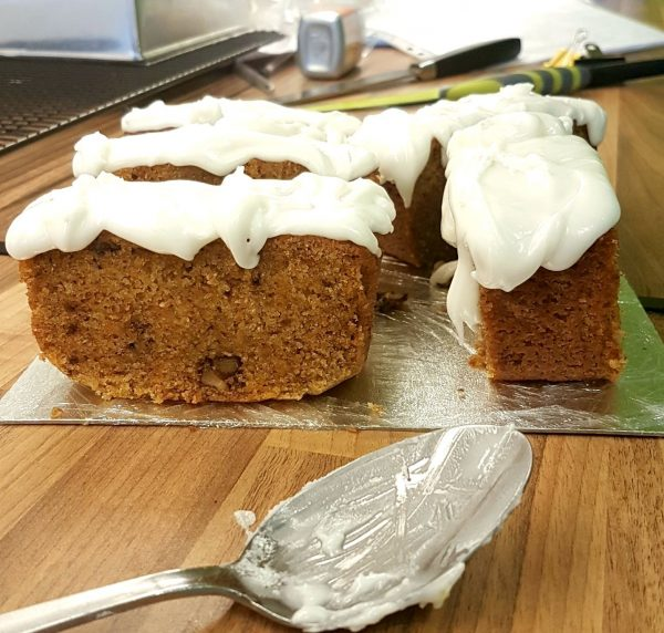 Just iced carrot cake and it looks yummy.
