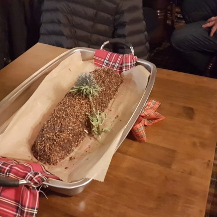 The haggis laid on the table.