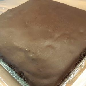 Uncut moist chocolate cake.
