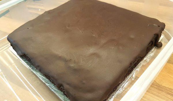 Uncut moist chocolate cake.