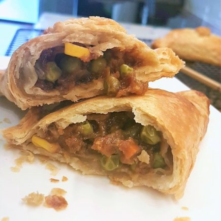 Sio Bao Pasty on a plate showing ther filling.