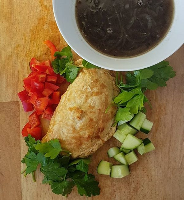 Chigan Leek & Potato pasty, vegan with salad and onion soup for lunch.