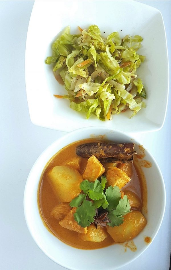Nyonya Chicken Curry with Fried Cabbage