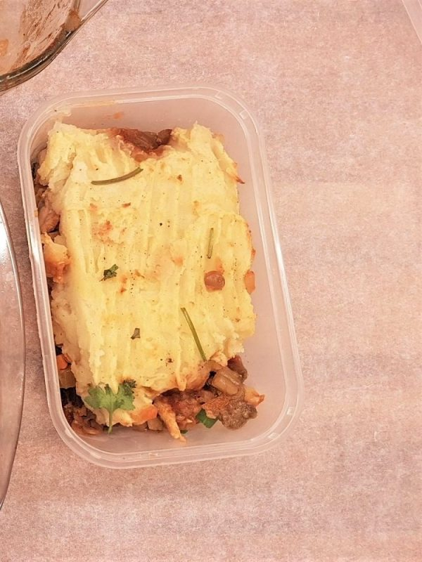 The moussaka in a microwave container