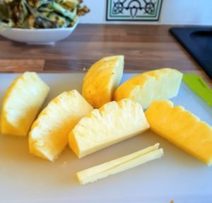 The fruit is cut into wedges