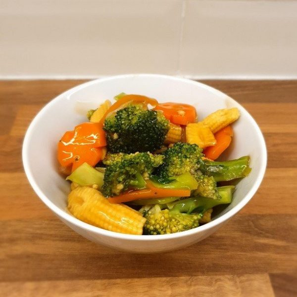Stir-fried broccoli with young corn and carrots.
