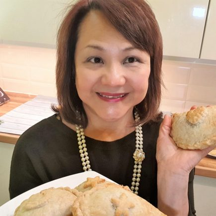 Loretta with the pasties and pies