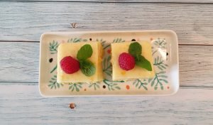 Jagung kuih or sweet corn pudding served squares.