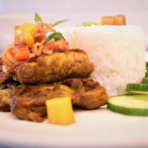 Grilled Turmeric Chicken with Tomato & Mango Lam Chut