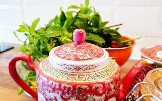 Mint tea with batik tea pot.